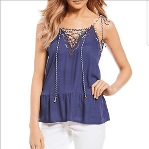 Jessica Simpson Ceri Lace-Up Braided Rope Tank Top